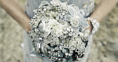 Heirloom jeweled wedding bouquet via Etsy