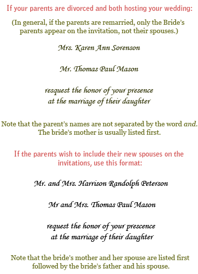 Here are a couple ways to handle this situation Wedding invitation format