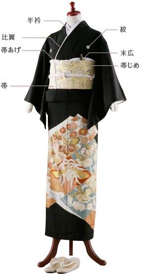 Kurotomesode (黒 留 袖) kimono
