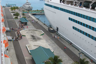 Majesty of the Seas and the dock at Nassau