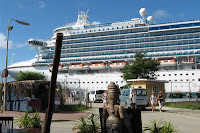 Emerald Princess at the dock in Bonaire