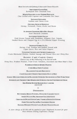 Bayou Cafe and Steakhouse menu