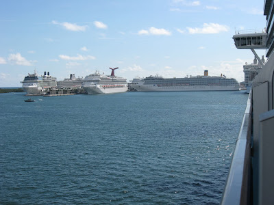 Port Everglades with seven cruise ships ready to sail.