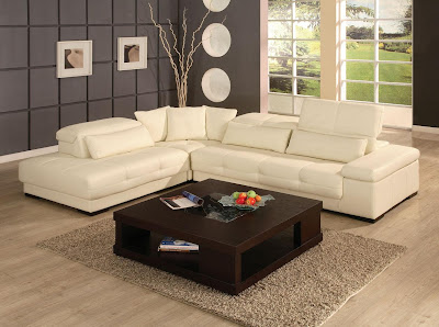 Interior Design: Living Room Interior Design with Modern Leather Sofa