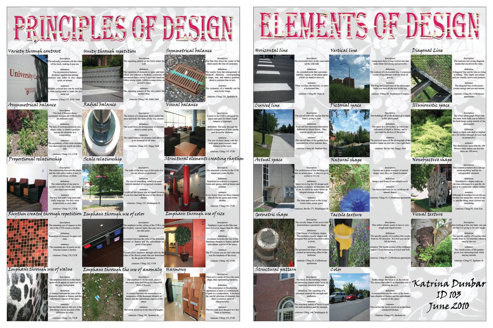 The purpose of making these posters was to reflect on the elements and  principles of design so that I could better understand them. I went around  Washington ...