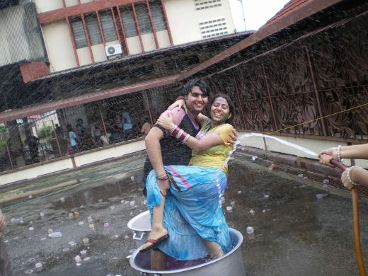 hot punjabi hostel girl playing holi her boyfriend in wet dress