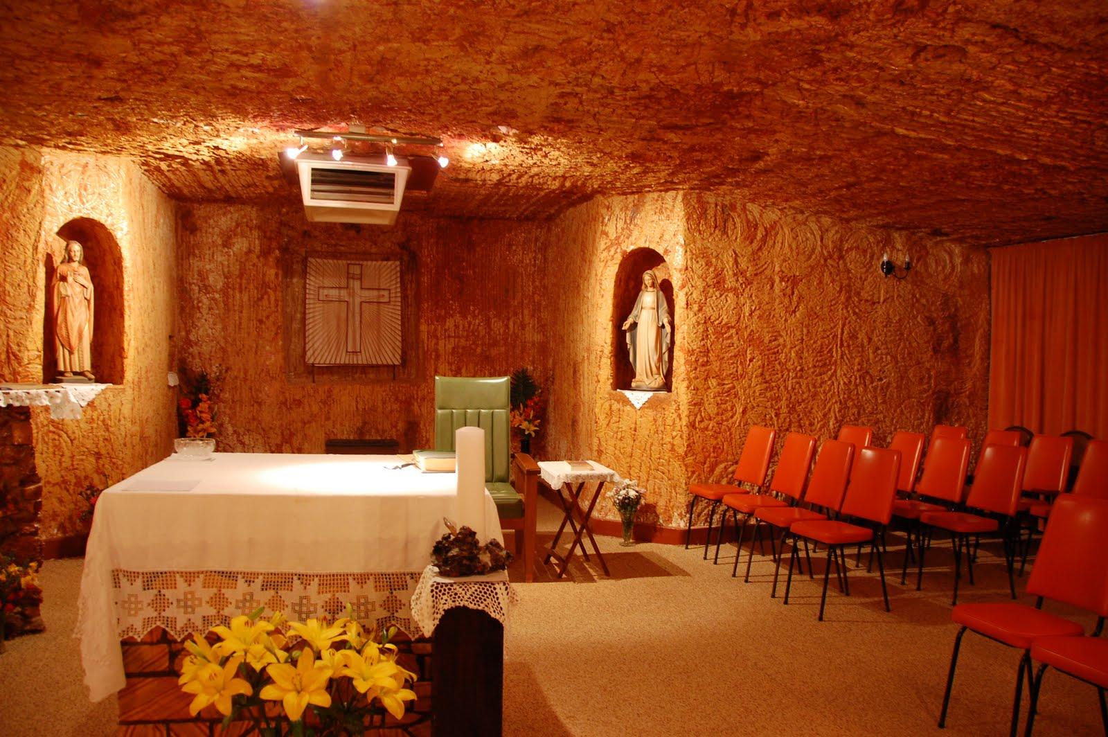 Underground church, interior, Coober Pedy, Australia
