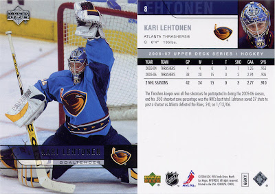 Kari Lehtonen, Atlanta Thrashers, Upper Deck, 06-07, nhl, hockey, hockey card, goalie
