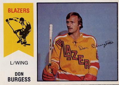 Don Burgess, Vancouver Blazers, WHA, o pee chee, 74-75, hockey, hockey card