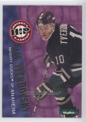 95-96 Skybox Impact, Oleg Tverdovsky, Anaheim Mighty Ducks, hockey card