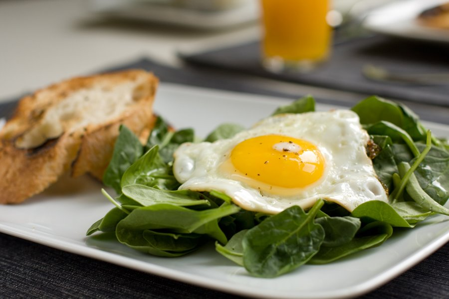 Sunny-Side-Up Egg And Baby-Spinach Flatbread Recipe — Dishmaps