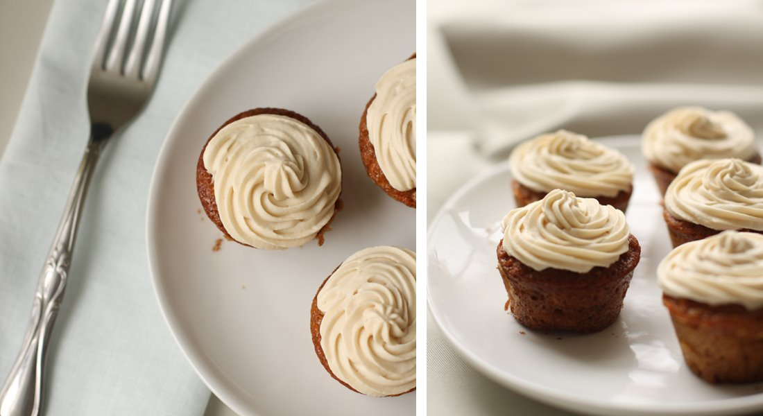 Mini Carrot-Coconut Cupcakes with Brown Butter Buttercream