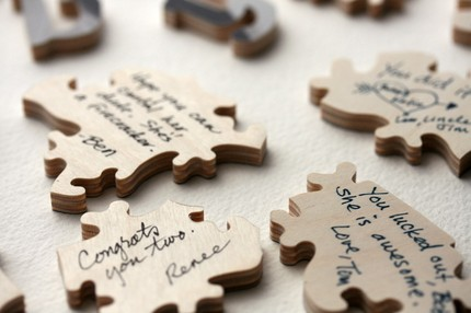 for more details including how to use a jigsaw as a wedding guest book