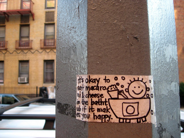 Cute sign on a lamp post in Brooklyn