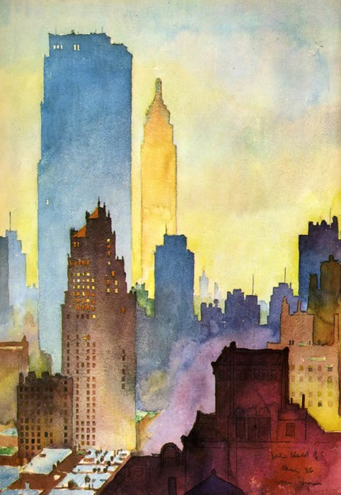 Together We Think Funny City Watercolor