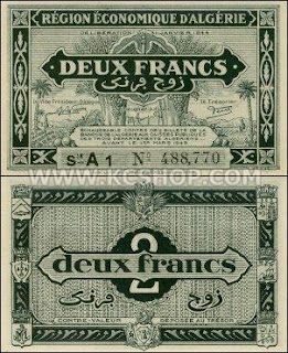 Algeria 1944 Two Francs