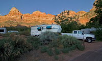 Click for Larger Image of My RV at Zion Just After Dawn