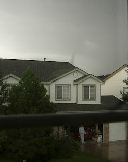 Click for Larger Image of Fading Tornado and Man Watching Storm