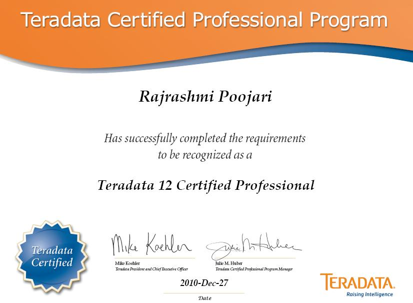 My World: Teradata Certified Professional ;)