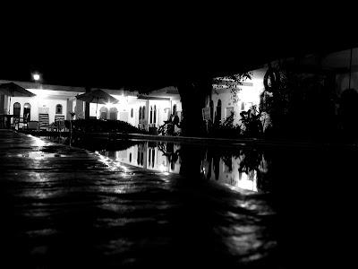 Das Hotel um Mitternacht, am Strand, Grusel, Pflanzen, Schwimmbad, Hotel