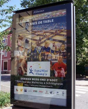 Prominent publicity in the streets of Schiltigheim for the Euro Mini Championships