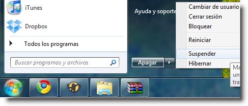 Apagado y encendido quitar botones en Windows 7