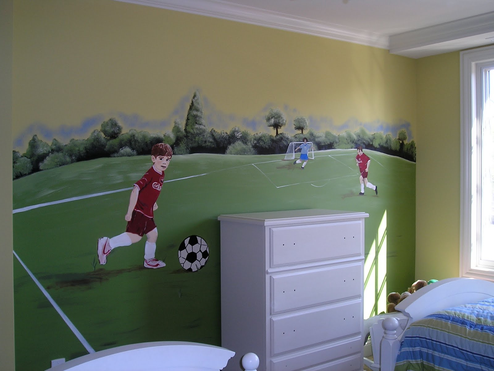 Jennifer d rizzo designs boy 39 s room murals - Soccer murals for bedrooms ...