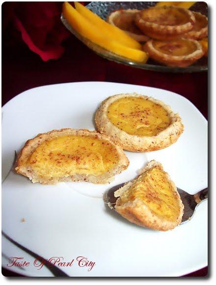 Taste of Pearl City: Mini Mango Custard Tart With Almond Pastry