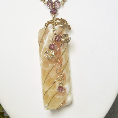 Honeycomb Calcite Wire-wrapped Pendant