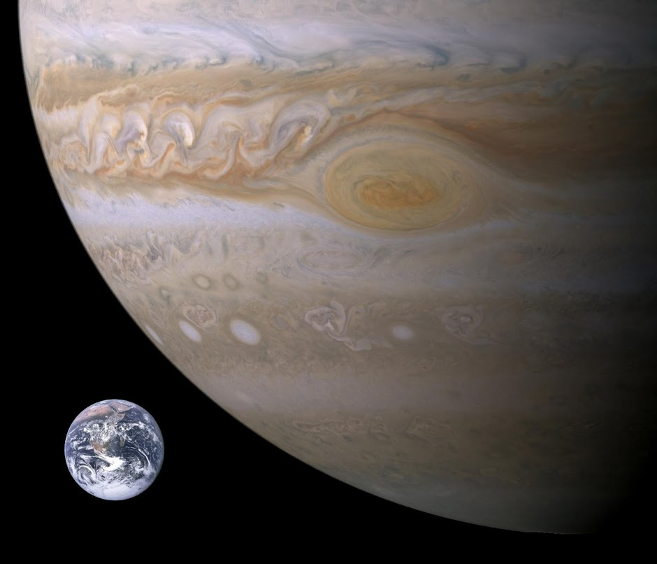 Jupiter's Great Red Spot Relative to Earth