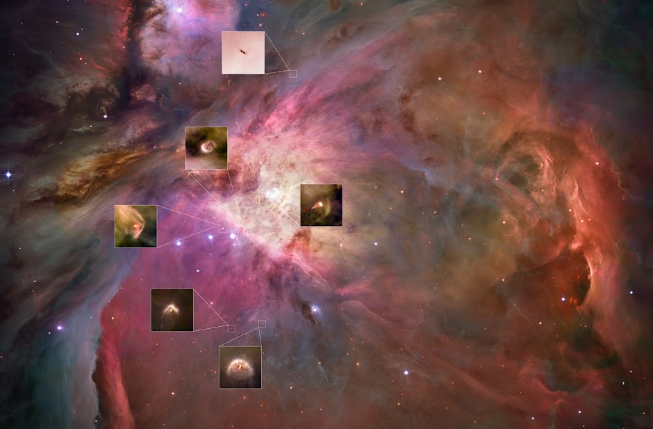 Orion Nebula with six protoplanetary discs highlighted