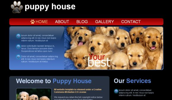Free Puppy Shop Black Blue CSS Template