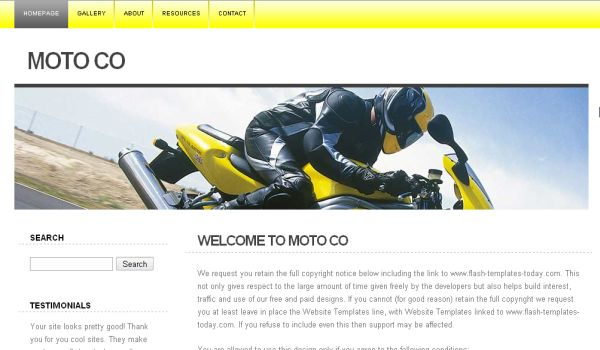 Moto Bikes Yellow Website Template