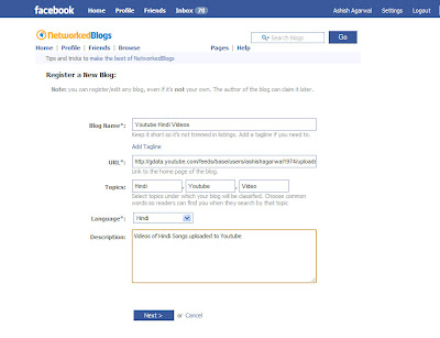 Adding the RSS feed of the Youtube videos to Networked Blogs in Facebook