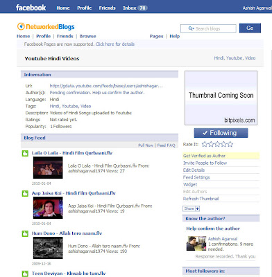 Pulling in your own Youtube video feed to your Facebook Fan Page through Networked Blogs