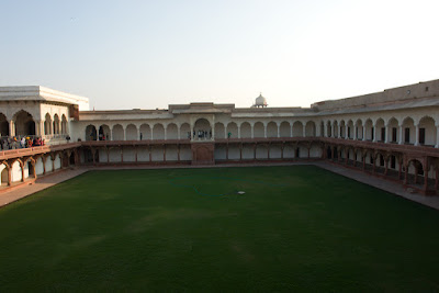 Central green courtyard of Agra Fort