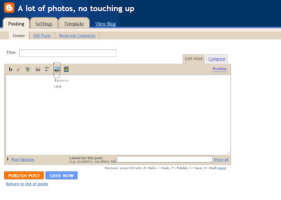Location of Photo Upload button on Blogger in the new post dialog