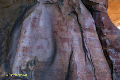 Rock carvings of cattle and smaller animals at Bhimbetka, Madhya Pradesh, India