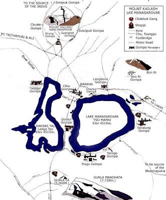 Map of Mount Kailash and Mansarovar lake in Tibet
