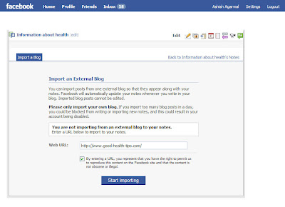 Entering your blog details and URL in the Import a Blog option in Facebook Fan Page notes