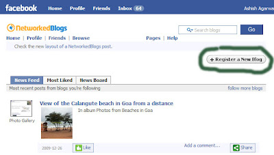 Button to register a new blog on the Networked Blogs application interface in Facebook