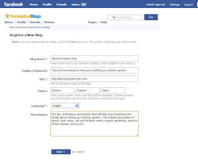 Adding your blog details in Register blog part of Networked Blogs on Facebook
