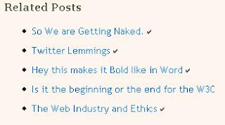 Screenshot of Related posts with ticks for visited links