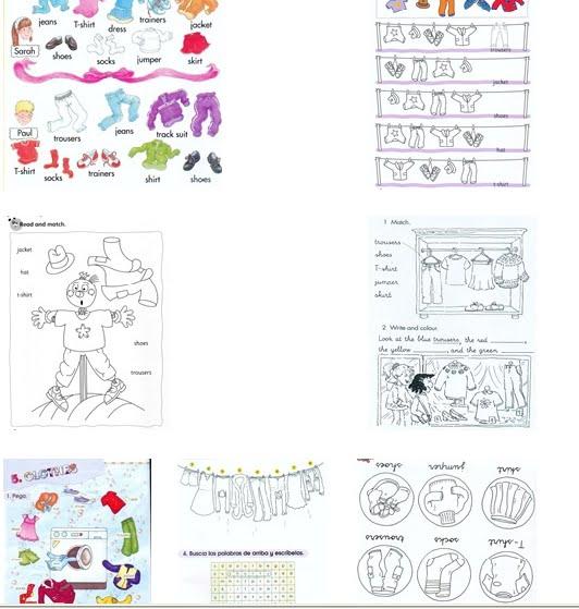 Dibujos de ropa en inglés - Imagui