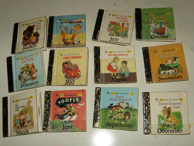 "Months are made from Vintage ""mini"" Golden Books"