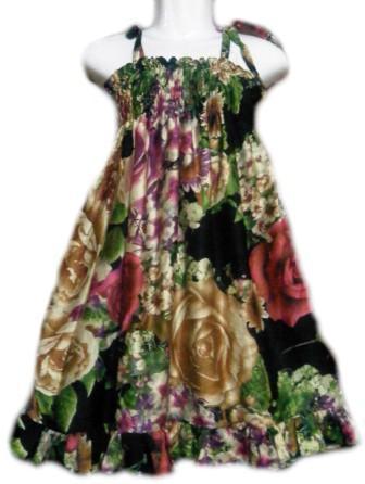 Baju Anak Saneea: Baju Anak Perempuan Bunga Hitam Tali