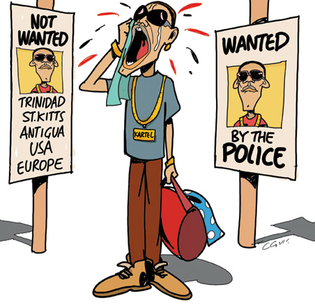 The cartoon depiction is true.. Vybz Kartel is banned from Trinidad,