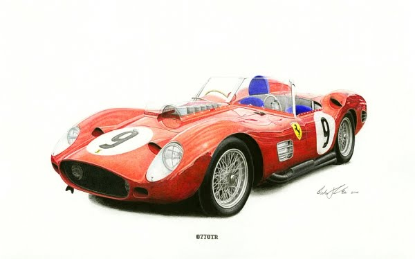 Ferrari 250 Testa rossa 1960 Lemans winning car Color pencils on paper