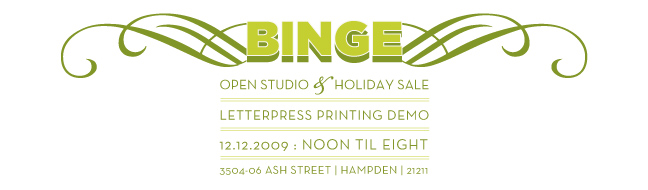 BINGE: open studio &amp; holiday sale