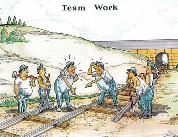 Funny Teamwork railway cartoon